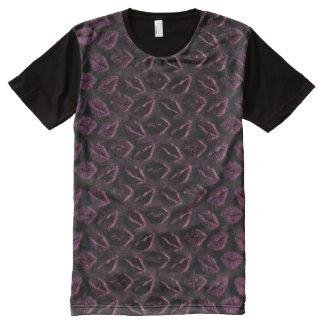 金属紫色の黒いNoirプラムキス3D オールオーバープリントT シャツ