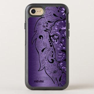 金属紫色及びライオンのヘッド砂糖のスカル オッターボックスシンメトリーiPhone 8/7 ケース