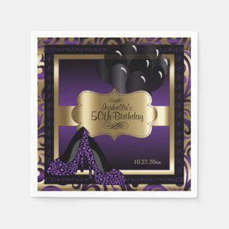 金属紫色及び金ゴールド-第50誕生日  DIYの文字 スタンダードカクテルナプキン