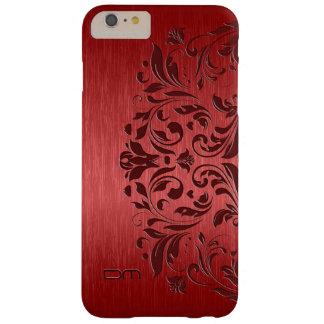 金属赤によってブラシをかけられるアルミニウム及び花のレース BARELY THERE iPhone 6 PLUS ケース