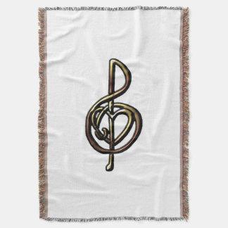 金属金ゴールドのト音記号およびハートのオリジナルの芸術 スローブランケット
