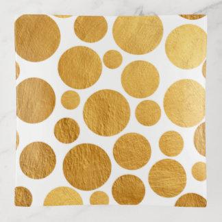金属金ゴールドのペンキホイルの円の水玉模様パターン トリンケットトレー