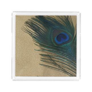金属金ゴールドの孔雀の羽 アクリルトレー