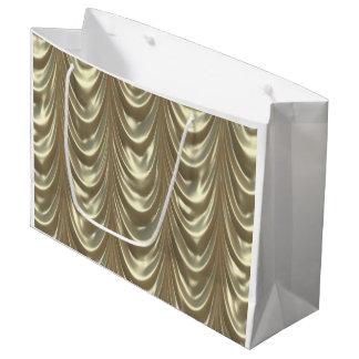 金属金ゴールドはサテンによってスカラップで仕上げられたパターンをルーシュで飾りました ラージペーパーバッグ