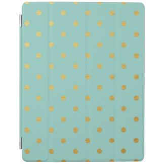 金属金ゴールドホイルの水玉模様のモダンで真新しいティール(緑がかった色) iPadスマートカバー