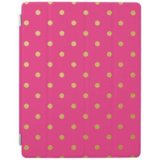 金属金ゴールドホイルの水玉模様のモダンなショッキングピンク iPadスマートカバー