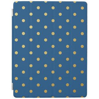 金属金ゴールドホイルの水玉模様のモダンなロイヤルブルー iPadスマートカバー