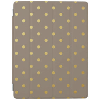 金属金ゴールドホイルの水玉模様のモダンな暗灰色ブラウン iPadスマートカバー