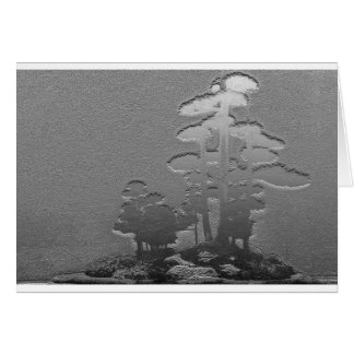 金属銀の盆栽の松の木のグループ グリーティングカード