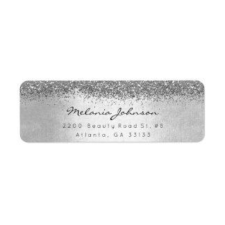 金属銀製のきらめくグリッターの銀 ラベル