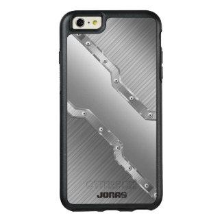 金属銀製灰色は金属の一見のモノグラムにブラシをかけました オッターボックスiPhone 6/6S PLUSケース