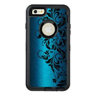 金属青い質及び黒い花のレース オッターボックスディフェンダーiPhoneケース