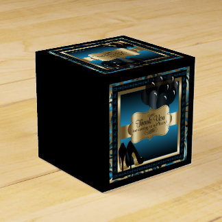 金属青および金ゴールド-第50誕生日  DIYの文字 フェイバーボックス