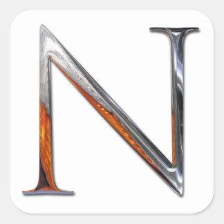 金属Nのモノグラム スクエアシール