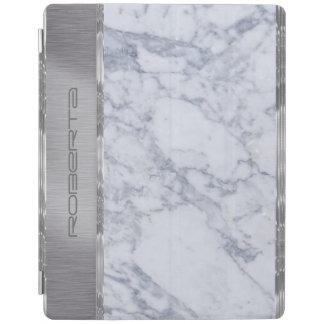 金属Silveおよび白い大理石 iPadスマートカバー