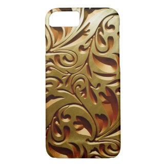 金彫られた木製のプリントのやっとiPhone 7の箱 iPhone 8/7ケース