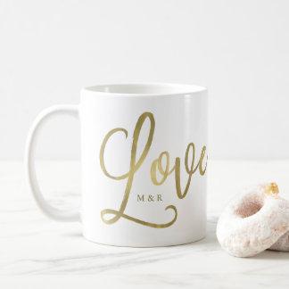 金愛|モダンで模造のな金ゴールドの原稿 コーヒーマグカップ