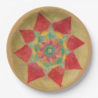 金手塗りの曼荼羅の紙皿9 inに ペーパープレート