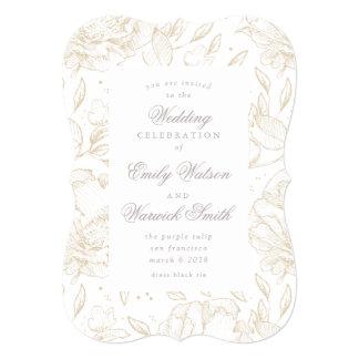 金手描きの花の結婚式招待状 カード