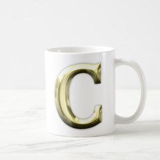 金手紙Cの光沢がある金ゴールドのアルファベット コーヒーマグカップ
