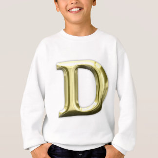 金手紙Dの光沢がある金ゴールドのアルファベット スウェットシャツ