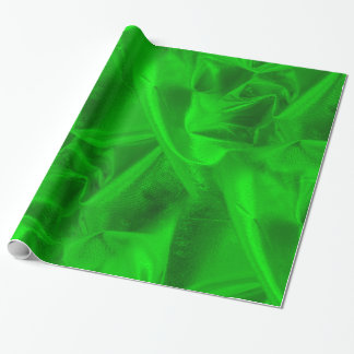 金持ちはLameの金属緑の模造のな質をしわにしました ラッピングペーパー