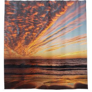 金日没のビーチ シャワーカーテン
