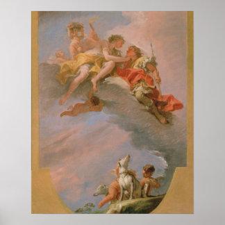 金星およびアドニス(キャンバスの油) ポスター