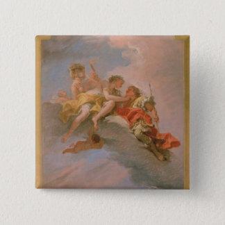 金星およびアドニス(キャンバスの油) 5.1CM 正方形バッジ