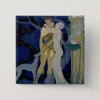 金星およびアドニス(色のlitho) 5.1cm 正方形バッジ