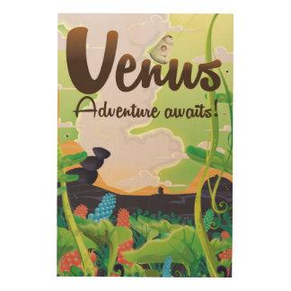 金星の冒険は待ちます! 旅行ポスター ウッドウォールアート