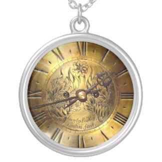 金時計のネックレス シルバープレートネックレス