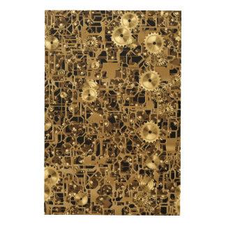 金時計仕掛けのギアパターン質の背景 ウッドウォールアート