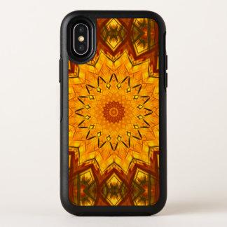 金時間の秋の葉は幾何学的な曼荼羅を着色します オッターボックスシンメトリー iPhone X ケース