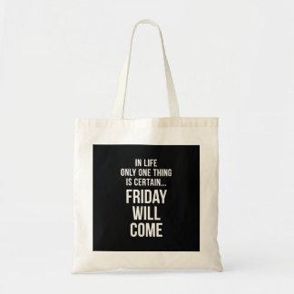 金曜日はオフィスのユーモアの白黒を来ます トートバッグ