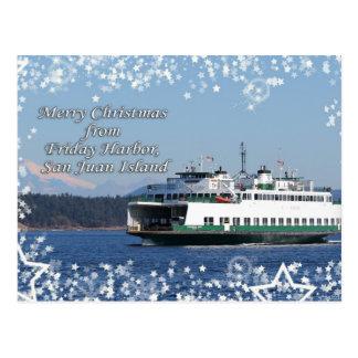 金曜日港フェリークリスマスの幸せな休日 ポストカード