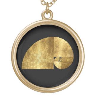 金比率、フィボナッチ螺線形 ゴールドプレートネックレス