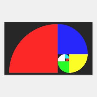金比率、フィボナッチ螺線形 長方形シール