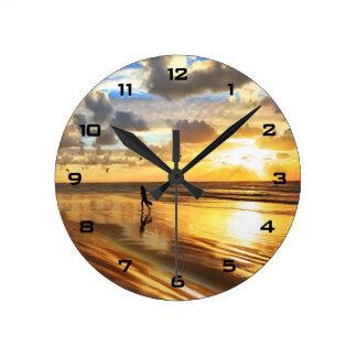 金波の日没の柱時計 ラウンド壁時計