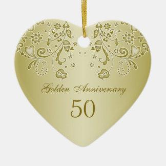 金渦巻第50の結婚記念日のオーナメント セラミックオーナメント