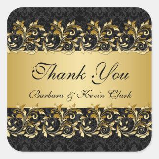 金渦巻、ダマスク織の結婚式はステッカー感謝していしています スクエアシール