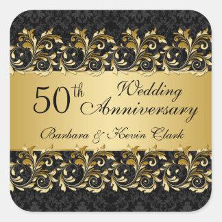 金渦巻、ダマスク織第50の結婚記念日 スクエアシール