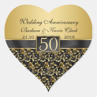 金渦巻、ダマスク織第50の結婚記念日 ハートシール