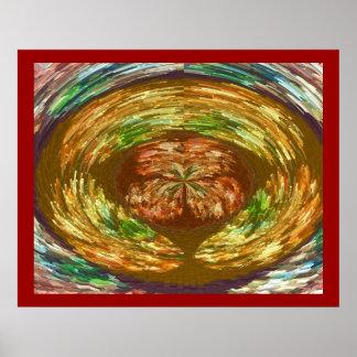 金炎のダンス: 火山エネルギーグラフィック ポスター