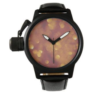 金王冠の保護装置の黒の革 腕時計