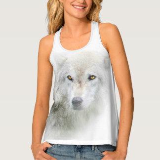金目の女性のRacerbackのオオカミのタンクトップ タンクトップ