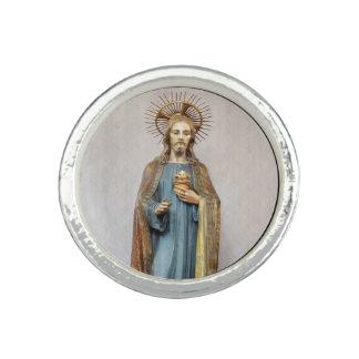 金神聖なハートを保持しているイエス・キリスト 指輪