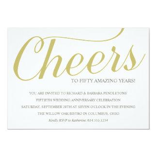 金第50結婚記念日のパーティの招待状 12.7 X 17.8 インビテーションカード