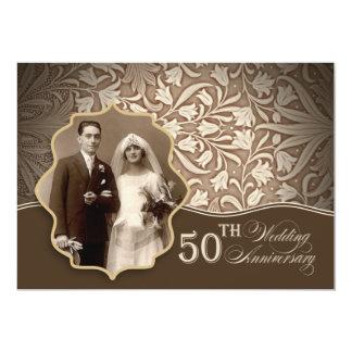 金第50結婚記念日の写真の招待状 カード