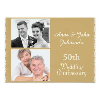 金第50結婚記念日の招待状 11.4 X 15.9 インビテーションカード